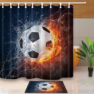 Image Is Loading Water And Fire Football Shower Curtain Bathroom Decor
