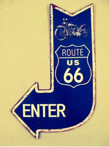 Wandschild Eisen Route 66 Enter H.40x25cm antik Vintage Deko Nostalgie Geschenk