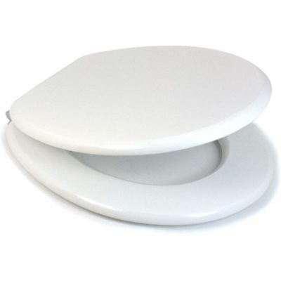Origineel White Mdf Croydex Alaska Toilet Seat With Chrome Hinges New & Boxed