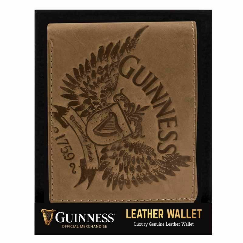 Guinness Brown Leather Wallet - Bifold - Ireland - Licensed Stock