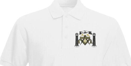 Freemason Masonic tools Compass Handshake Embroidered Polo Shirt
