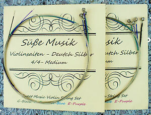 NEW-Suse-Musik-Violin-String-Set-4-4-2-Sets-8-Strings-German-Silver