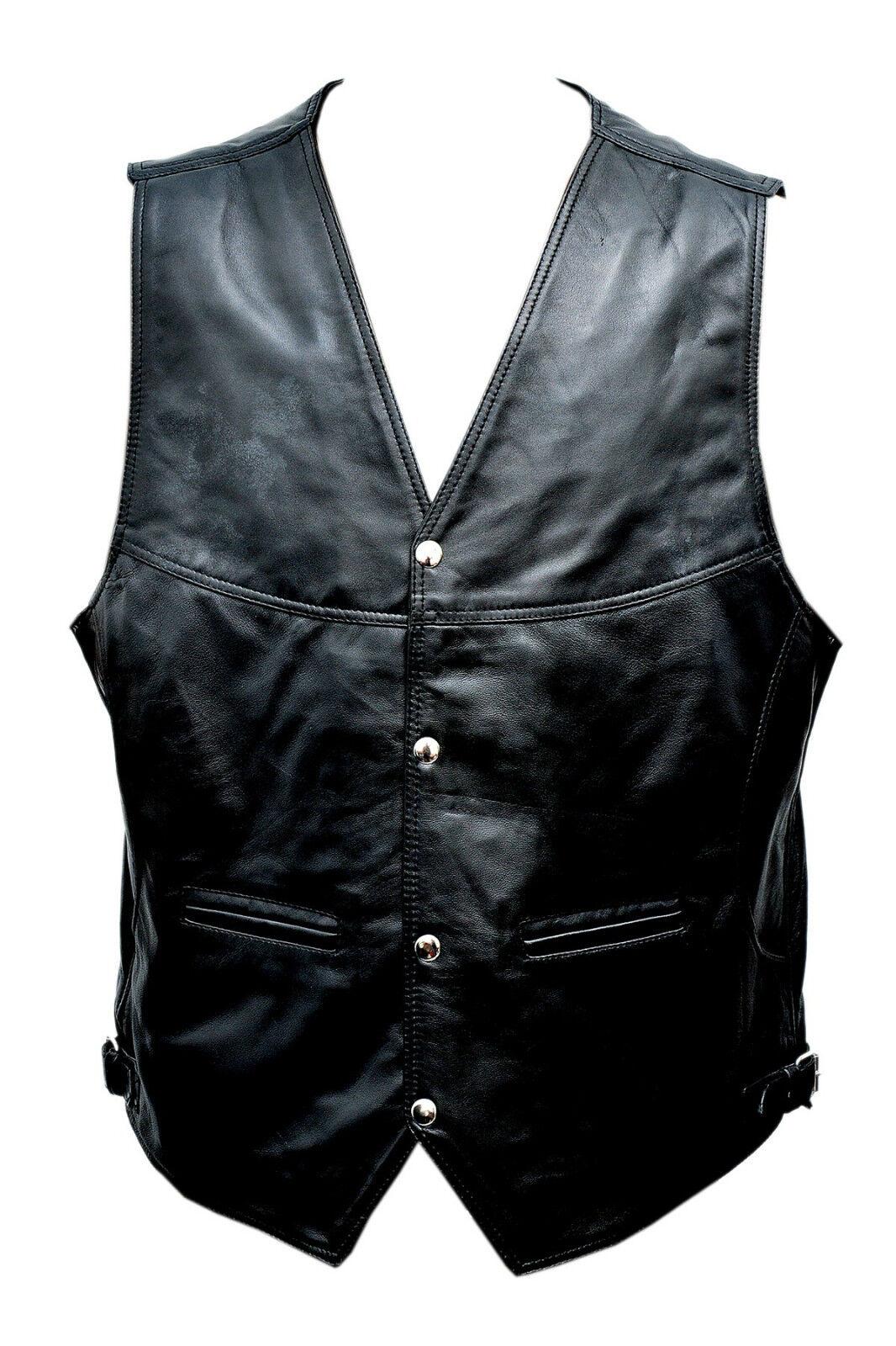 Mens Leather Vest   Waistcoat Fashion Rider Motorcycle Biker Lamb Leather