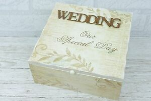 Details About Wedding Memory Box Keepsake Chest Special Day Wood Venue Card Decor Bride Sg1230