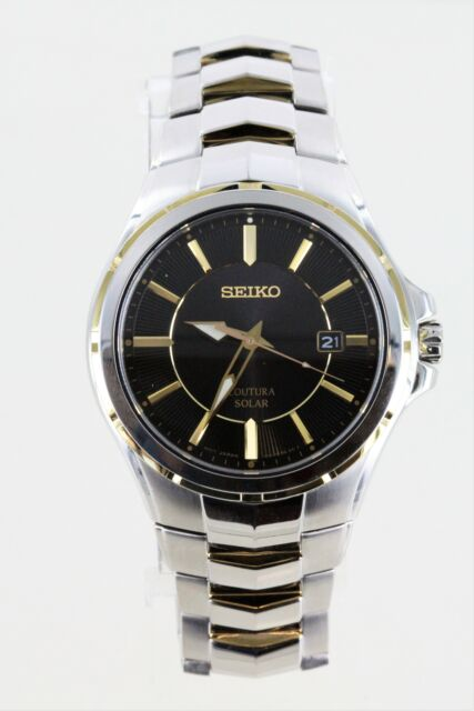 Seiko Solar Men's SNE412 Coutura Black Dial Two Tone Stainless Steel Watch NWD