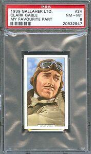 1939 Gallaher LTD My Favourite Part Card #24 CLARK GABLE Test Pilot PSA 8