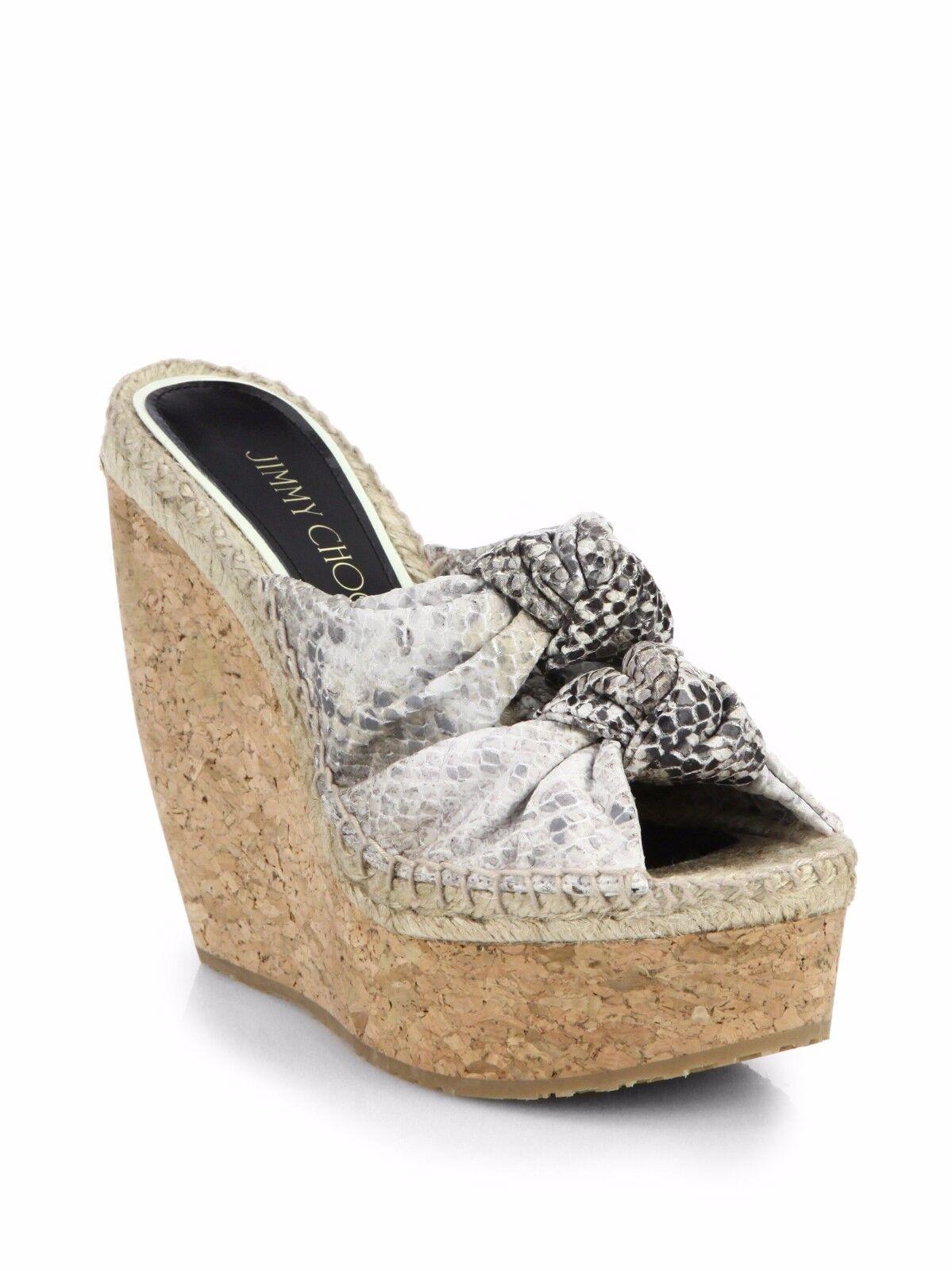 Neu Jimmy Choo Verknotet Schlange Plateau Keilabsatz Sandalen Schuhe 37 40.5 42