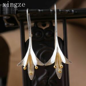 Women-Long-Lily-Lotus-Flower-Earrings-925-Silver-Dangle-Drop-Ear-Hook-Earrings