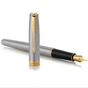 New-Perfect-Parker-Pen-Steel-Color-Gold-Clip-Sonnet-0-5mm-Fine-Nib-Fountain-Pen