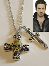 Once Upon A Time pendente del capitano morsetto Hook's cranio & spada collana