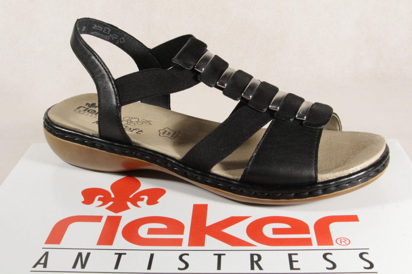 Rieker Ladies Sandals Sneakers Black Footbed Real Leather New