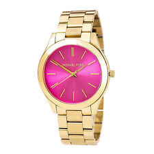 NEW MICHAEL KORS MK3264 RUNWAY PINK PURPLE DIAL SLIM GOLD TONE LADIES WATCH