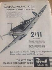52601 ephemera 1963 Revell Authentic Kits Advert