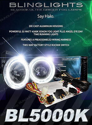 Premium White LED Halo Xenon Halogen Dual Function Fog Lamps & Driving Light Kit