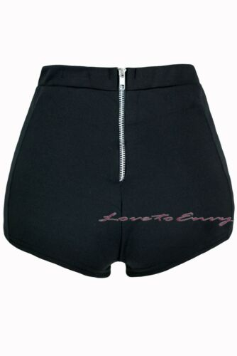 Black Hot Pants Plain Stretchy Petite Side Wet Look Club Wear Mini Summer Shorts