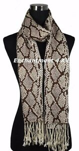 Black//Off White Stunning 2-Ply Pure Cashmere Pashmina Leopard Shawl Wrap Scarf
