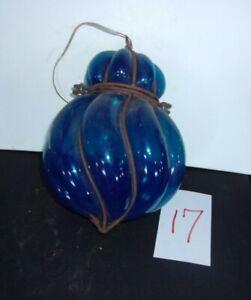 Antique BLUE Art Nouveau HAND BLOWN Ceiling Light Fixture L-1800s-E-1900s