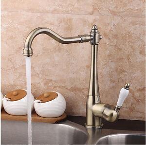 Antique-Bronze-Swivel-Spout-Kitchen-Vessel-Sink-Bathroom-Basin-Mixer-Faucet-Taps