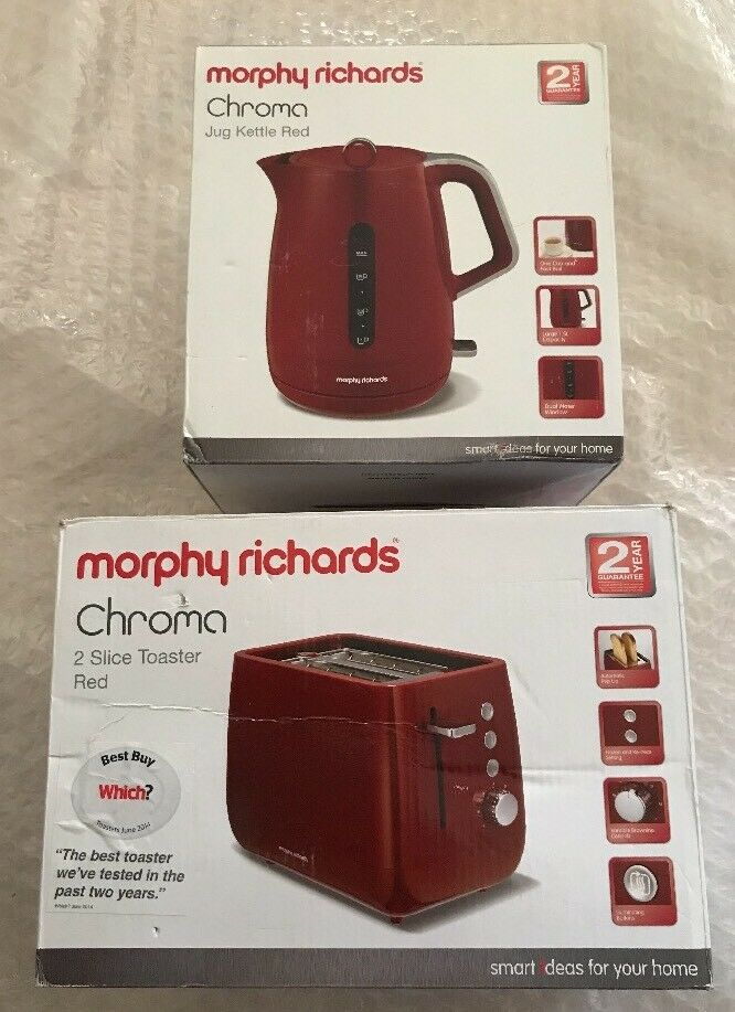 Morphy Richards Chroma Kettle & 2 Slice Toaster Red (BNIB)