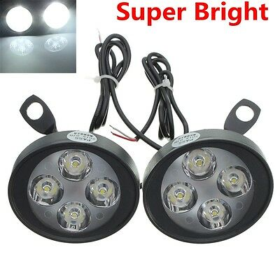 2x Universal LED Motorcycle MotorBike Rearview Mirror Headlight Fog Light Lamp