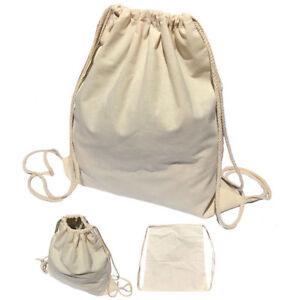 Image is loading 50-Lot-Cotton-Natural-White-Drawstring-Backpack-Tote- 1cab545ff