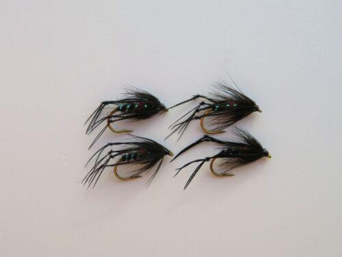 6 x Hopper Bibio Dry Black Holo Legs Trout Fly Fishing Quality Flies Size 12
