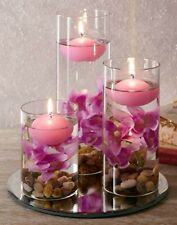 Set 3 Floating Candles Lilac Pink Candle Holder Flowers Mirrored Base Home Decor