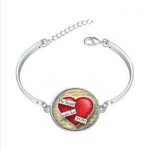 ST Valentin Coeur Verre Cabochon Tibet Silver Bangle Bracelets Wholesale
