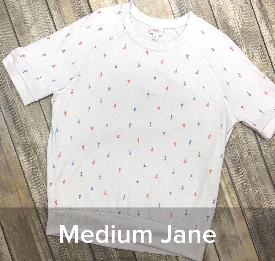 NWT LuLaRoe American Dreams Jane Medium M Solid Weiß rot Blau Stars