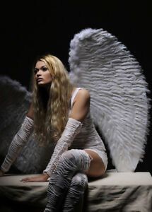 Extra Large Fancy Dress Angel White Feather Wings 52655bd69803