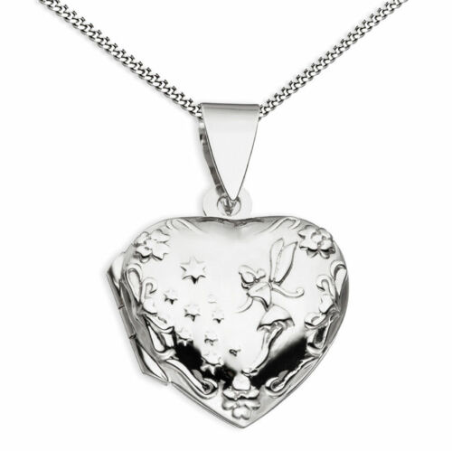 Medaillon Herz Fee Elfe Herzform 925 Sterling Silber für 2 Fotos Schmuck-Etui