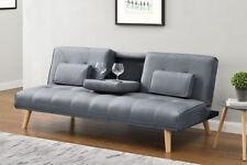 Modern Stylish 2 / 3 Seater Small Single Sofa Bed Grey Black Charcoal Fabric