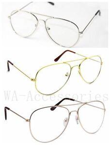 New Clear Lens Aviator Fashion Sunglasses Retro Vintage Style Metal Frame