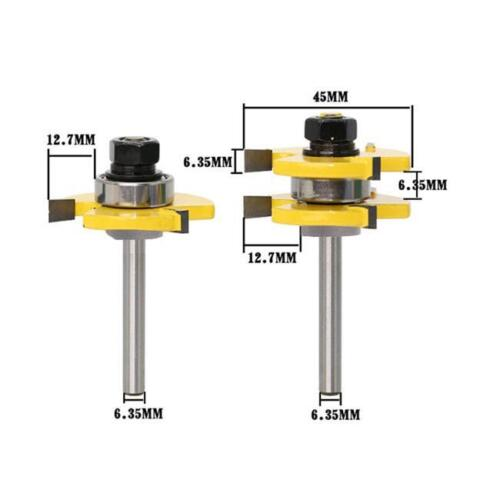 """Tongue and Groove Router Bit 3 Teeth T Shape 1//4/"""" Shank Wood Milling Cutter LI"""