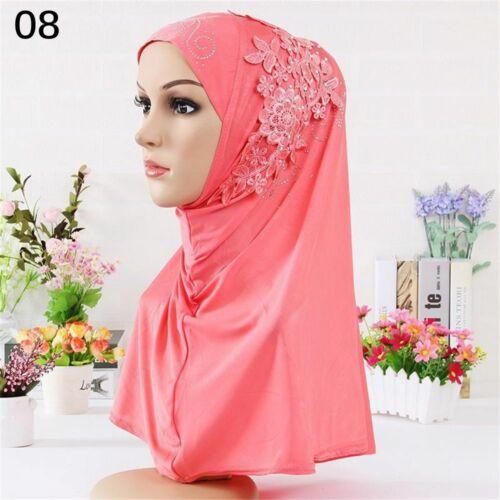 Fashion Islamic Lace Flower Muslim Scarf Hijab Turban Headscarf Rhinestone