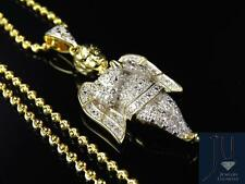"Genuine Diamond 3D Angel Cherub 1.5"" Pendant Charm In Yellow Gold Finish 0.50Ct"
