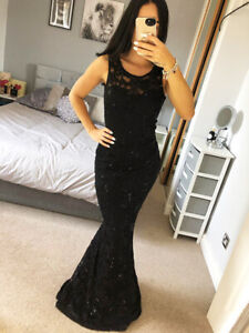 Black-Lace-Sequin-Detail-Dress-Ball-Gown-Long-Fishtail-Maxi-Evening-Prom