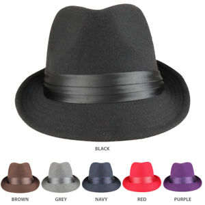 e0ed9e5ed Details about Men's Wool Felt Fedora Hat with Satin Hat Band - FREE SHIPPING