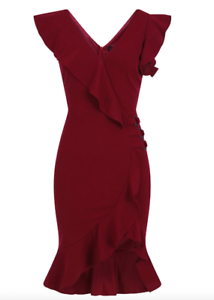 Women-039-s-New-Red-Wine-Frill-Wrap-Party-Evening-Bodycon-Pencil-Dress-Size-8