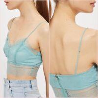Topshop Petal Blue Lace Floral Bralet Crop Top Size 6 8 12 US 2 4 8 Blogger ❤