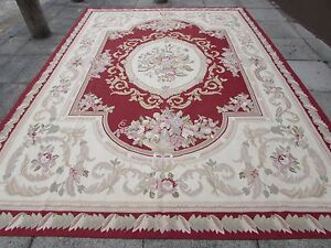 Old-Hand-Made-French-Design-Wool-12x9-Red-Original-Aubusson-375X269cm