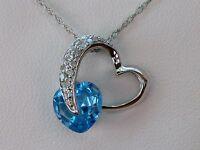Blue Topaz & Diamond Heart Swirl Necklace- 10k White Gold- 18 Chain