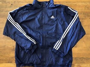 Details about Adidas Team Men's Full Zip Athletic Track Jacket Size XL Navy Blue White Stripes