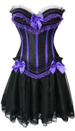 UK Burlesque Moulin Rouge FANCY DRESS Corset/&Skirt Costume Shaper Plus Size New