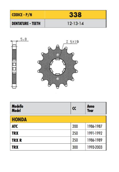 338 - Pignone Passo 520 Per Honda Trx 250 1991 1992 Om Jarenlange Probleemloze Service Te Garanderen