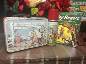 ROY ROGERS~DBL R BAR RANCH~LUNCH BOX & THERMOS VINTAGE 1950'sW/BOOK~ RED