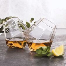 Diamond Glasses Set of 2 Whiskey Spirit Glass Tumblers Unique Drinking Gift