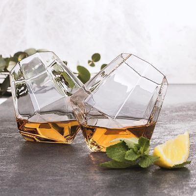 Diamond Glasses Set of 2 Whiskey Spirit Glass Tumblers Unique Drinking Gift