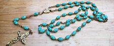 Pretty Blue Glass Rosary Necklace/Papal/Catholic/Worship/Turquoise/Retro