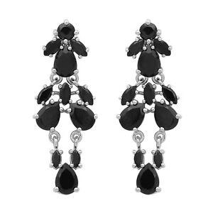 Black-Spinel-Gemstone-925-Sterling-Silver-Cluster-Women-Wedding-Drop-Earring
